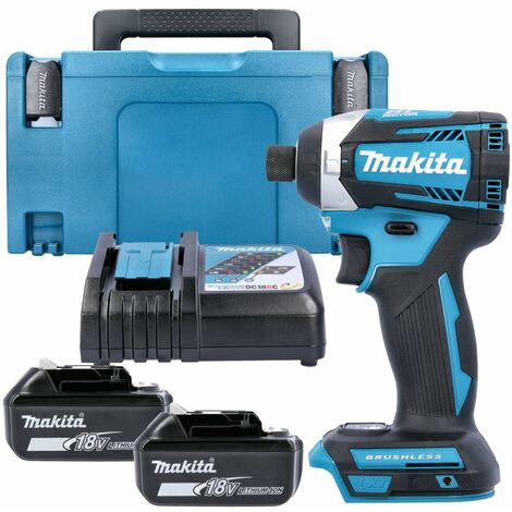 Makita DTD154 18V Brushless Impact Driver With 2 x 3.0Ah Batteries, Charger, Case & Inlay