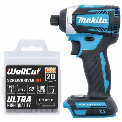 Makita DTD154 18V Brushless Impact Driver With 20 Pcs PZ2 25mm Screwdriver Bits