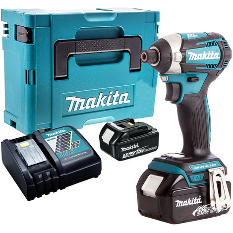 Makita DTD154Z 18V Brushless Impact Driver with 2 x 3.0Ah Battery & Charger in Case:18V