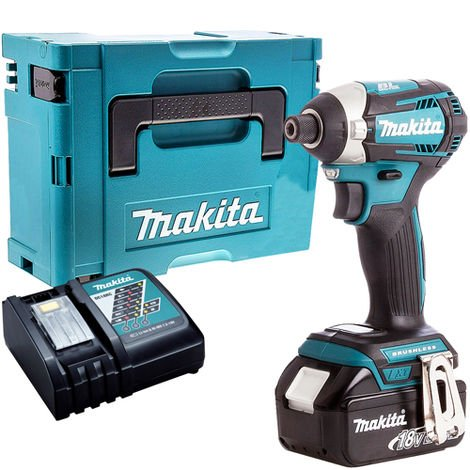 Makita DTD154Z 18V LXT Brushless Impact Driver with 1 x 5.0Ah Battery & Charger in Case:18V