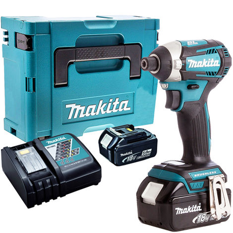Makita DTD154Z 18V LXT Brushless Impact Driver with 2 x 5.0Ah Batteries & Charger in Case:18V