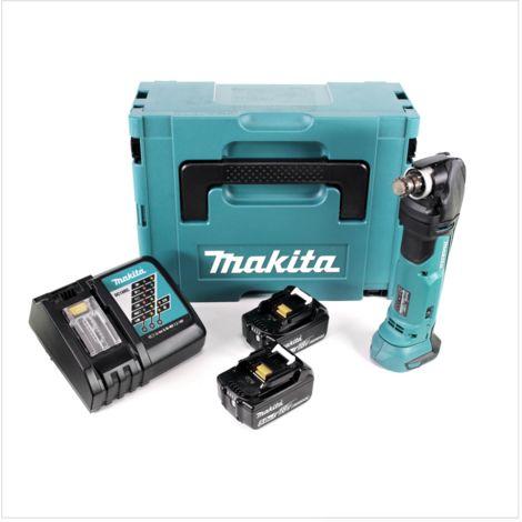 Makita DTM 51 RTJ 18V Li-Ion Découpeur-ponceur multifonctions sans fil avec boîtier Makpac + 2x Batteries BL 1850 5,0 Ah Li-Ion + Chargeur rapide DC 18 RC