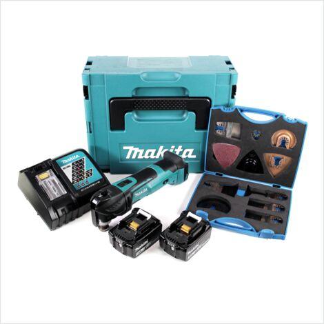 Makita DTM 51 RTJ 18V Li-Ion Découpeur-ponceur multifonctions sans fil avec boîtier Makpac + 2x Batteries BL 1850 5,0 Ah Li-Ion + Chargeur rapide DC 18 RC + WellCut MT-20 Multi Tool Universal