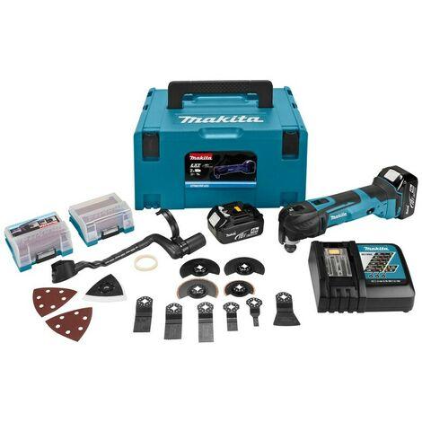 Makita DTM51RMJX3 Découpeur-ponceur multi-fonctions à batteries 18V Li-Ion set (2x batterie 4.0Ah) kit d'accessoires 41 +1 pièces inclu dans MAKPAC