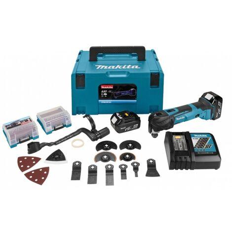 Makita DTM51RTJX3 Outil multi-fonction à batteries 18V Li-Ion (2x batterie 5.0Ah) dans MAKPAC + jeu d'accessoires 42 pièces - changement rapide