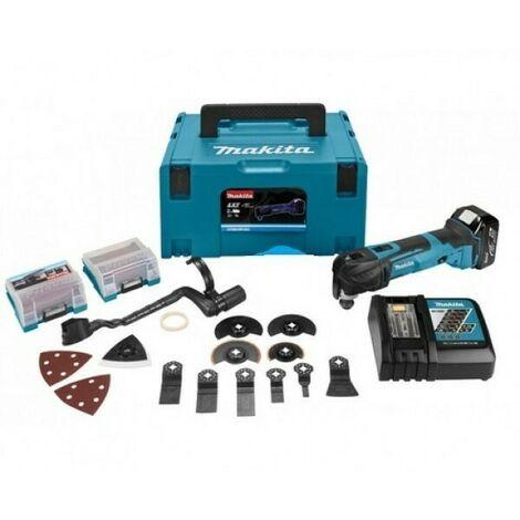 Makita DTMRT1J3 Découpeur-ponceur multifonctions 18V Li-Ion (1x batterie 5.0Ah) + set d'accessoires 42 pièces dans MAKPAC - changement rapide