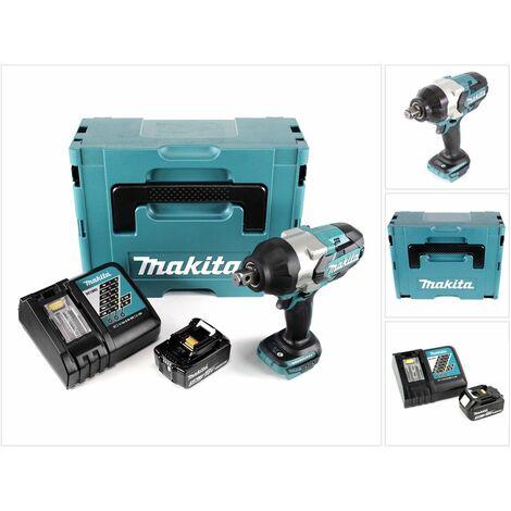 Makita DTW 1001 RF1J 18 V Li-Ion Brushless Boulonneuse à chocs sans fil avec Boîtier Makpac + 1x Batterie BL 1830 3,0 Ah + Chargeur rapide DC 18 RC