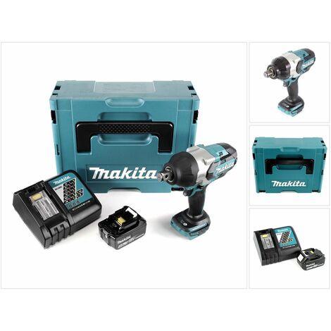 Makita DTW 1001 RT1J 18 V Li-Ion Brushless Boulonneuse à chocs sans fil avec Boîtier Makpac + 1x Batterie BL 1850 5,0 Ah + Chargeur rapide DC 18 RC