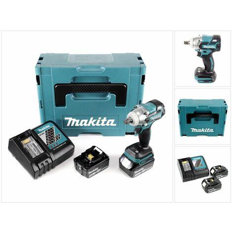Makita DTW 285 RTJ 18 V Li-Ion Boulonneuse à chocs sans fil avec boîtier Makpac + 2x Batteries BL 1850 5,0 Ah + Chargeur rapide DC 18 RC