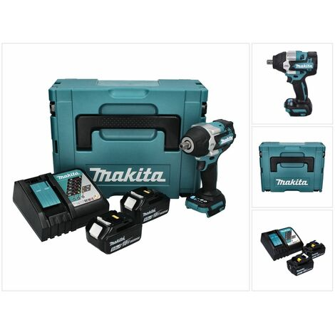 "Makita DTW 701 RTJ Boulonneuse à chocs 18 V 700 Nm 1/2"" XPT Brushless + 2x Batteries 5.0 Ah + 1x Chargeur + Makpac"