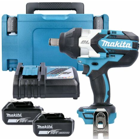 Makita DTW1001 18V Brushless Impact Wrench With 2 x 5.0Ah Batteries, Charger, Case & Inlay