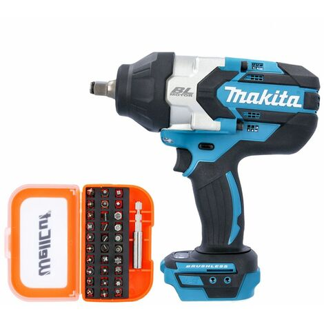 """Makita DTW1002 18V 1/2"""" Brushless Impact Wrench With 31 Piece Screwdriver Bit Set"""