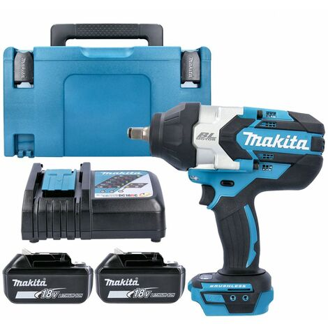 Makita DTW1002Z 18V Impact Wrench With 2 x 5.0Ah Batteries, Charger, Case & Inlay