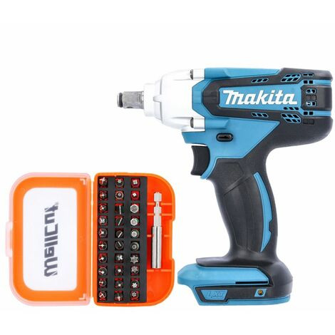 Makita DTW190Z 18V LXT Impact Wrench With 31 Piece Screwdriver Bit Set