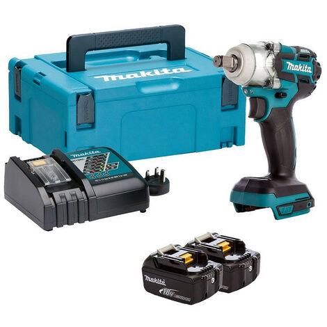 "Makita DTW285RTJ 18V 1/2"" LXT Brushless Impact Wrench Kit 2x 5.0Ah Batteries"