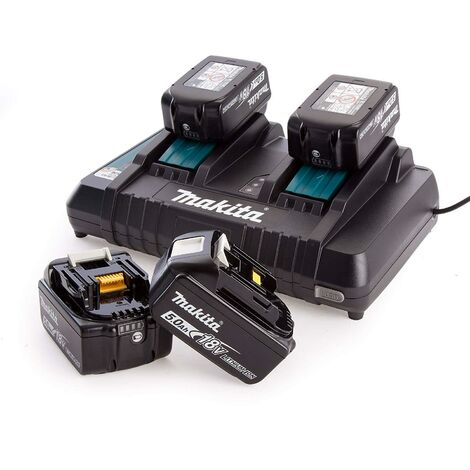 Makita Dual Port Charger with Four BL1850B 18V 5 Ah Batteries, Black