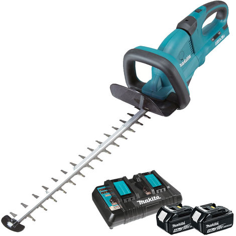 Makita DUH551Z 18v Twin 36v Hedge Trimmer with 2 x 4.0Ah Battery & Twin Port Charger