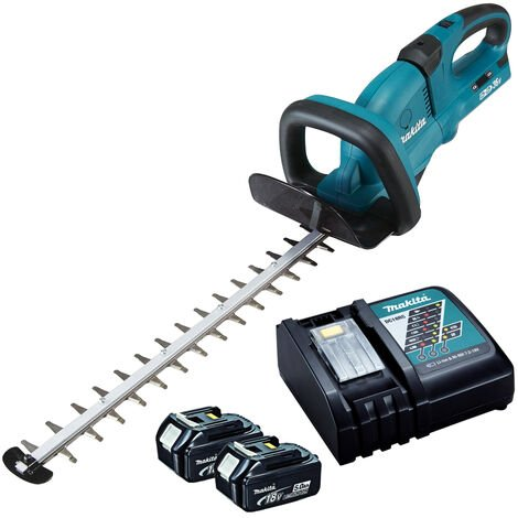 Makita DUH551Z 18v Twin 36v Hedge Trimmer with 2 x 5.0Ah Batteries & Charger