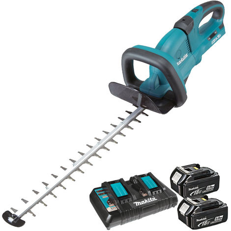 Makita DUH551Z 18v Twin 36v Hedge Trimmer with 2 x 5.0Ah Battery & Dual Port Charger
