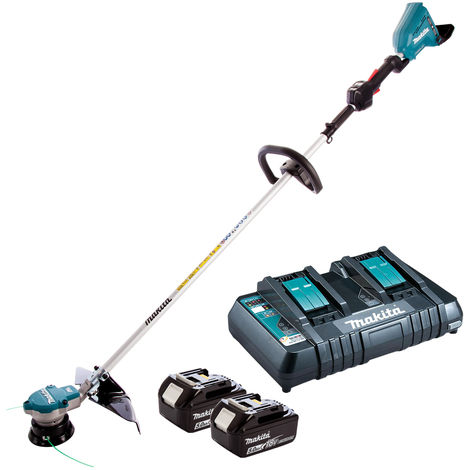 Makita DUR364LZ 36V Brushless Line Trimmer with 2 x 5.0Ah Battery & Twin Port Charger