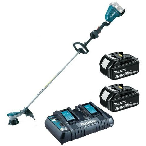 Makita DUR364RT2 Twin LXT 18v 36v Brushless Line Trimmer - 2 x 3.0ah Charger