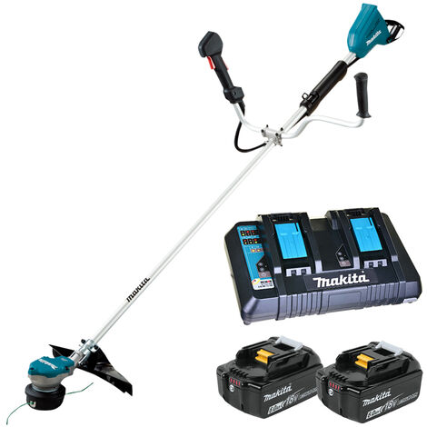 Makita DUR368Z 18V Twin Brushless Brush Cutter with 2 x 6.0Ah Battery & Twin Port Charger