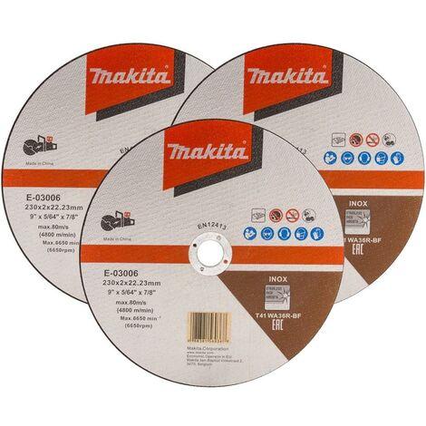 "Makita E-03006 Cutting Cut Off Wheel 230mm 9"" For DCE090 Disc Cutter x 3 Pack"