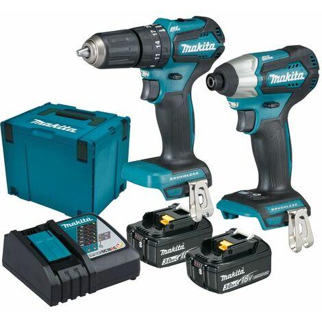 Makita Ensemble de 2 machines 18,0V / 3Ah, avec 2x batterie et chargeur DC18RC - DLX2221JX2