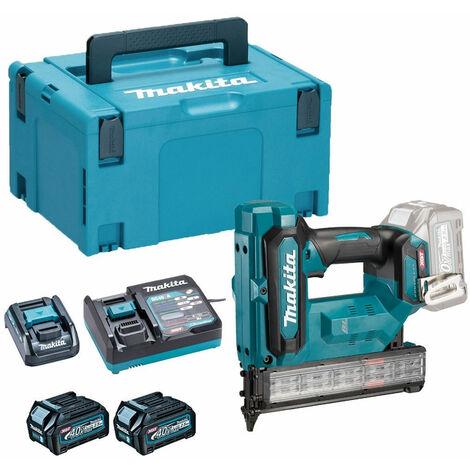Makita FN001GD201 40V Max Brad Nailer 18Ga with 2 x 2.5Ah Battery Charger & Type 3 Case