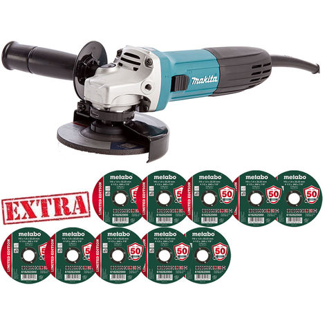 "Makita GA4530R 115mm 4.5"" Angle Grinder 720W 240V With 10 Metal Inox Cut Discs:240V"