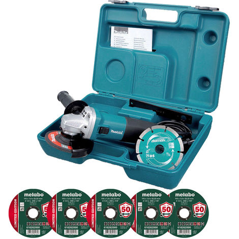 Makita GA4530RKD 240V 4.5 Angle Grinder 5 x 115mm Metal Cutting Disc:240V
