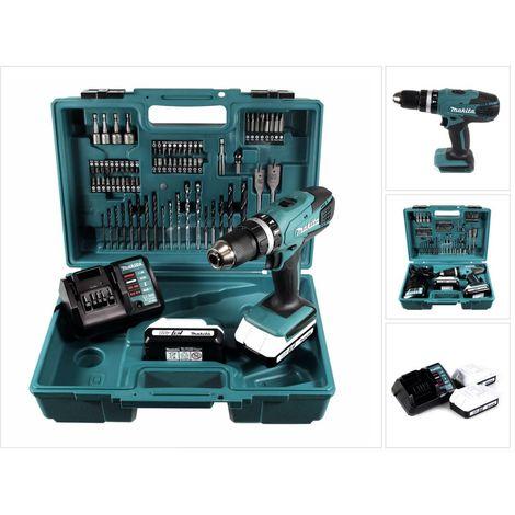 Makita HP 457 DWE Akku Schlagbohrschrauber 18 V + 2 x 1,5 Ah Akku + Ladegerät + 74 tlg. Zubehör Set im Werkzeugkoffer