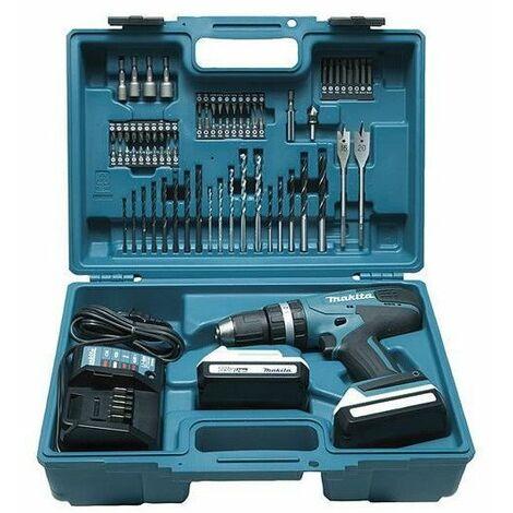 Makita HP 457 DWE Perceuse-visseuse à percussion sans fil 18 V G-Serie + 2x Batteries 1,5 Ah + Chargeur + 74 Pièces d'accessoires