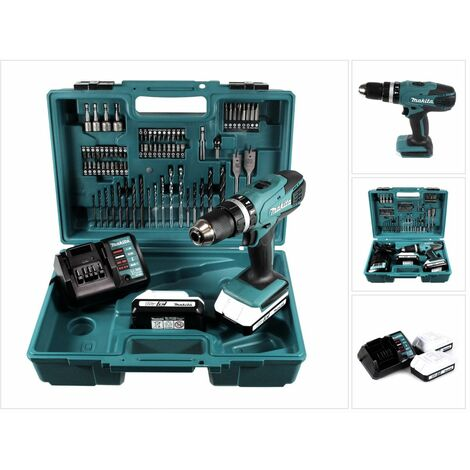 Makita HP 457 DWE Trapano avvitatore con percussione a batteria 18V + 2x Batterie 1,5 Ah + Caricabatterie DC 18 WA + Set di punte da 74 pezzi