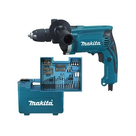 Makita HP1631KX3 - Taladro percutor 710W 13mm + accesorios