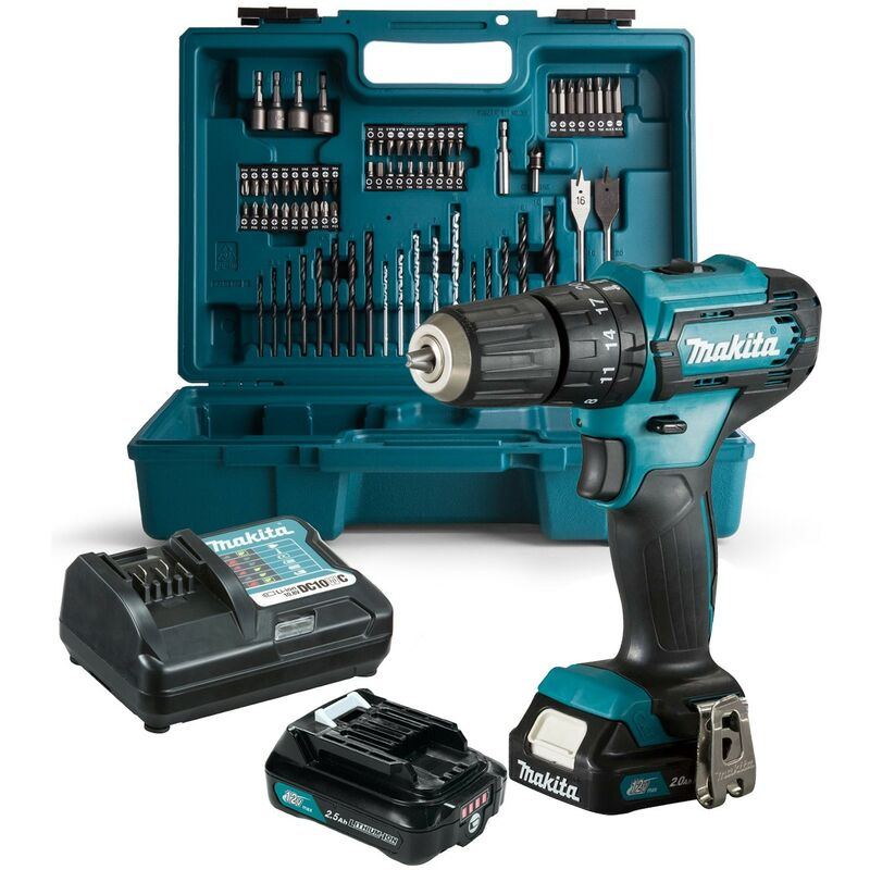 Makita HP333DWAX1 12v CXT Combi Drill with 2 x 2.0ah - 74 Piece Accessory Set