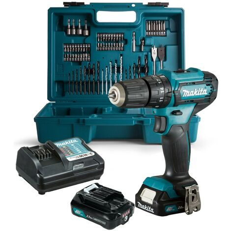 Makita HP333DWAX1 12v CXT Combi Drill with 2 x 2.0ah - 74 Piece Accessory Set