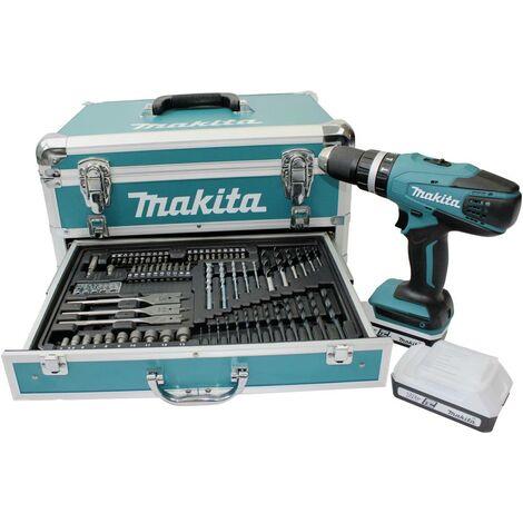 Makita HP457DWEX4 Trapano avvitatore a percussione a batteria 18 V 1.5 Ah Li-Ion incl. seconda batteria, incl. valigia,