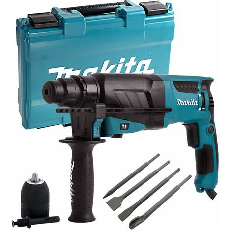 Makita HR2630 110V SDS+ Rotary Hammer Drill & 4 Piece Chisel Set + Keyless Chuck