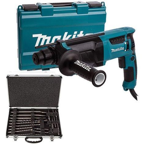 Makita HR2630 240V Hammer Drill With D-21200 17 Piece Drill Bit Set
