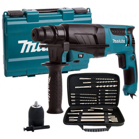 Makita HR2630 240V SDS+ 3 Mode Rotary Hammer Drill with Extra Accessories
