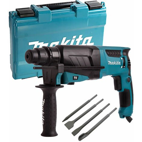 Makita HR2630 3 Mode SDS+ Rotary Hammer Drill 240V with 4 Piece Chisel Set