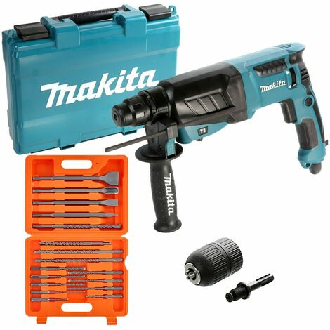 Makita HR2630 SDS+ 3 Mode Rotary Hammer Drill 240V With 17 Piece Acce. & Keyless Chuck