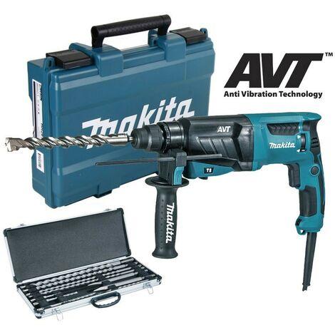 Makita HR2631F 240v SDS Plus Corded Rotary Hammer Drill, 10pc Drill + Chisel Set