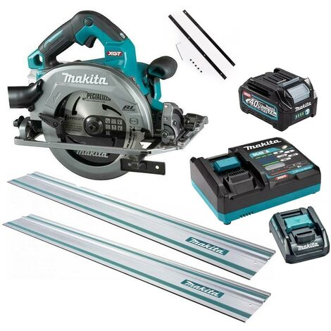 Makita HS004GD103 40v Max XGT 190mm Brushless Circular Saw + Battery + 2 Rails