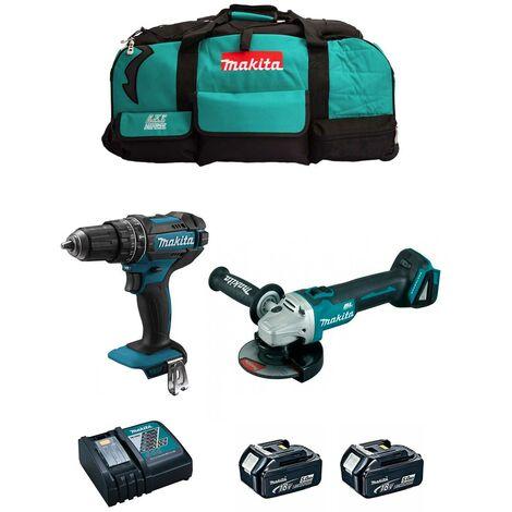 MAKITA Kit MK205 (DHP482 + DGA504 + 2 x 5,0 Ah + DC18RC + LXT600)