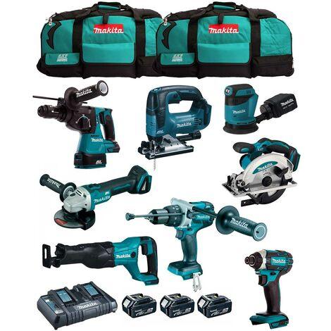 MAKITA Kit MK802 (DHP481 + DHR243 + DGA504 + DTD152 + DJV182 + DSS610 + DJR186 + DBO180 + 3 x 5,0 Ah + DC18RD + 2 x LXT600)