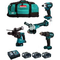 "MAKITA Kit MST4T3BL3 18V (DHR243 + DTD148 + DGA504 + DHP480 + 3 x 5,0 Ah + DC18RC + Trolley) ""Brushless"""
