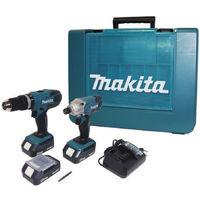 Makita Kit Trapano a percussione + avvitatore impulsi a batteria HP457D+TD127D