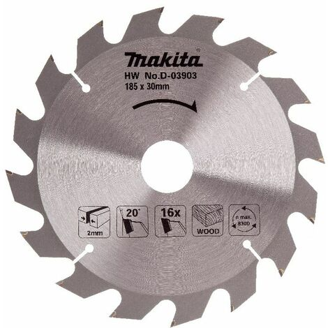 Makita Lame carbure standard bois, pour scies circulaires, 185x30/16Z - D-03903